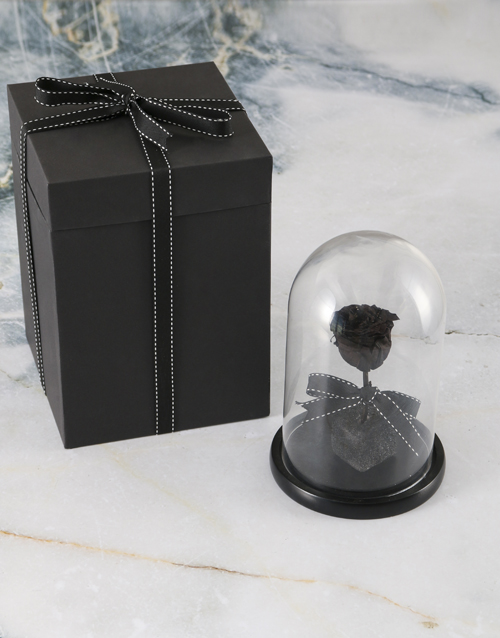 love-and-romance: Black Preserved Rose In Glass Dome!