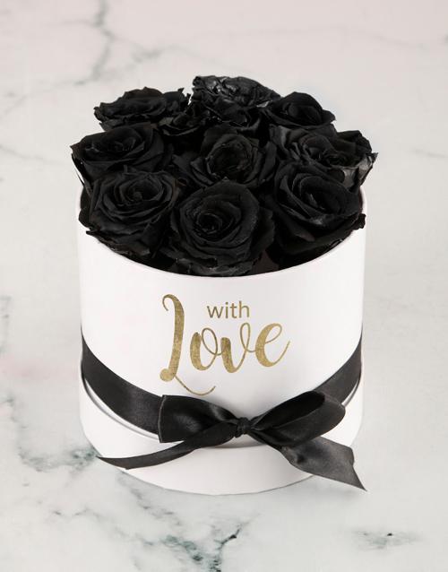 silk: Preserved Black Roses In White Box!