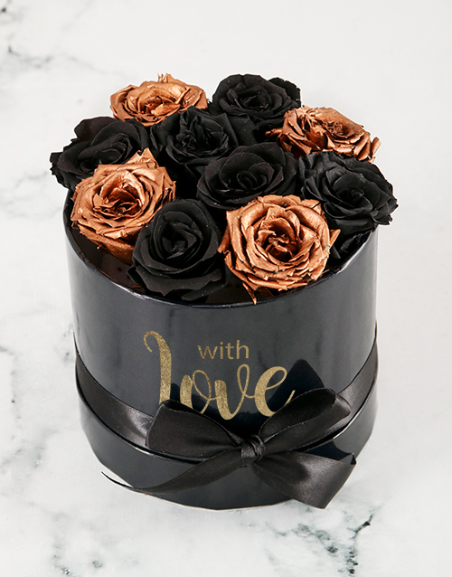 love-and-romance: Magical Black and Gold Preserved Roses!