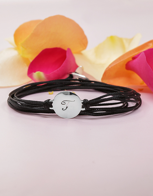 sale: Silver Personalised Initial Disk on Silk Cord!