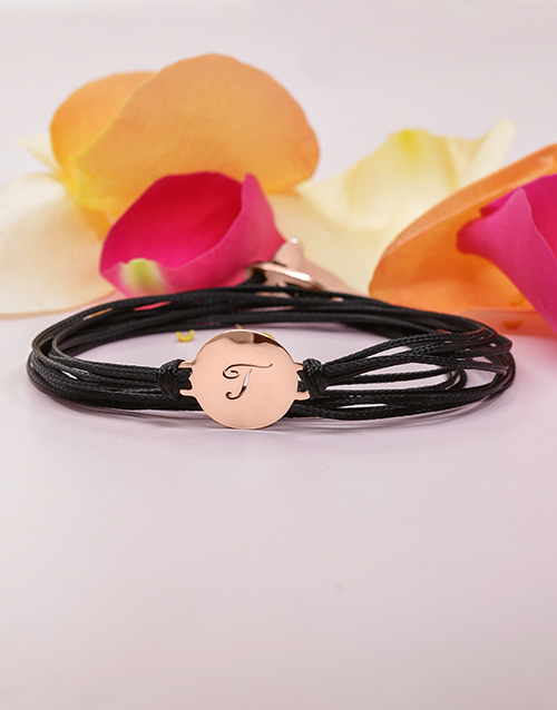 mothers-day: 9KT Rose Personalised Initial Disk on Black Silk!