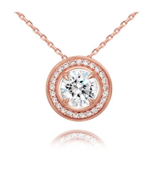 birthday: Rose Silver Round Halo Cubic Slider Necklace!