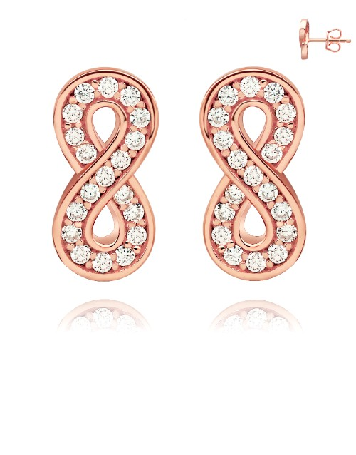 earrings: Rose Silver Pave Set Cubic Infinity Stud Earrings!