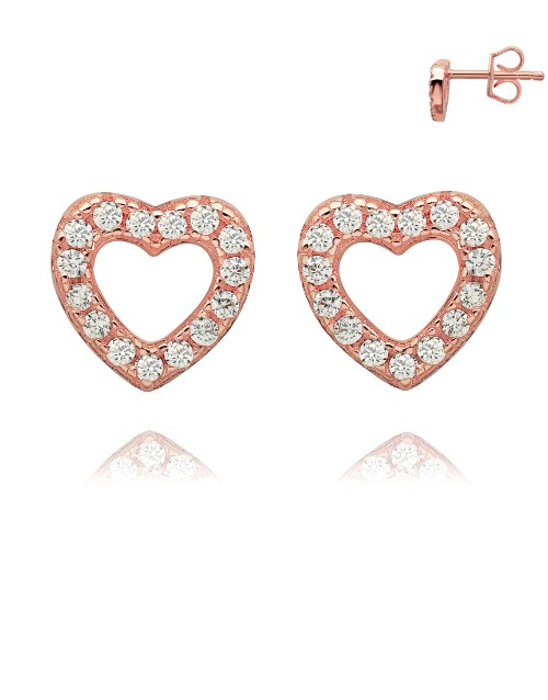 earrings: Rose Silver Open Heart Pave Set Cubic Studs!