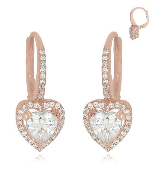 earrings: Rose Silver Pave Cubic Drop Heart Earrings!