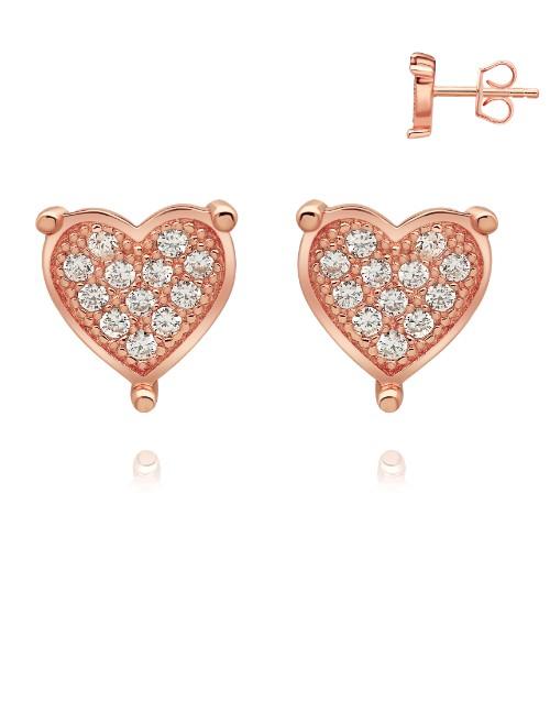 earrings: Rose Silver Pave Set Cubic Stud Earrings!