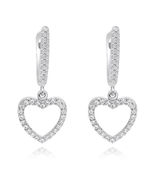 birthday: Silver Pave Heart Drop Earrings!