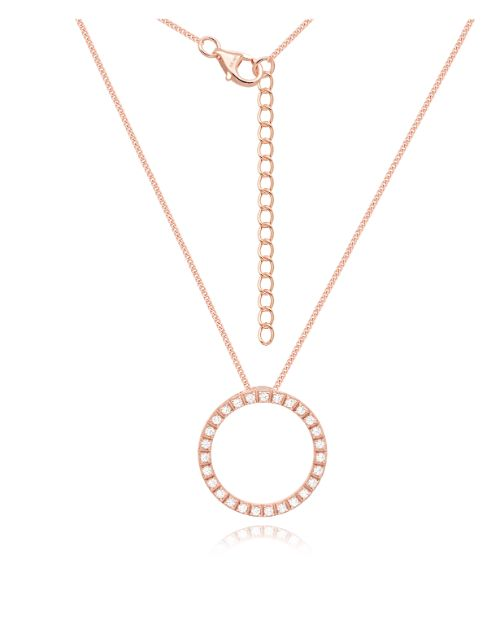 anniversary: Rose Silver Cubic Zirconia Circle Necklace!