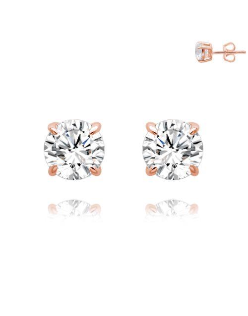 earrings: Silver Rose RND 4 Claw Stud Earrings!
