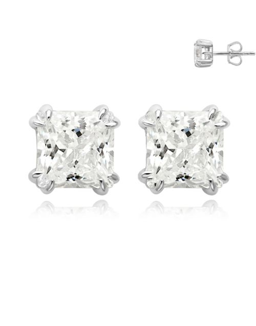 earrings: Silver Square 4 Claw Cubic Zirconia Earring!