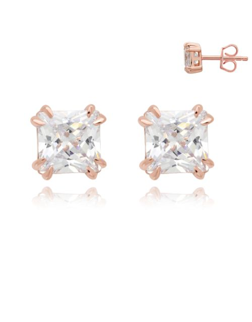 earrings: Silver Rose Square 4 Claw Cubic Zirconia Earring!