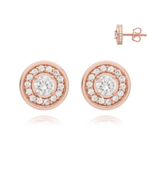 earrings: Silver Rose Round Halo Cubic Zirconia Earring!