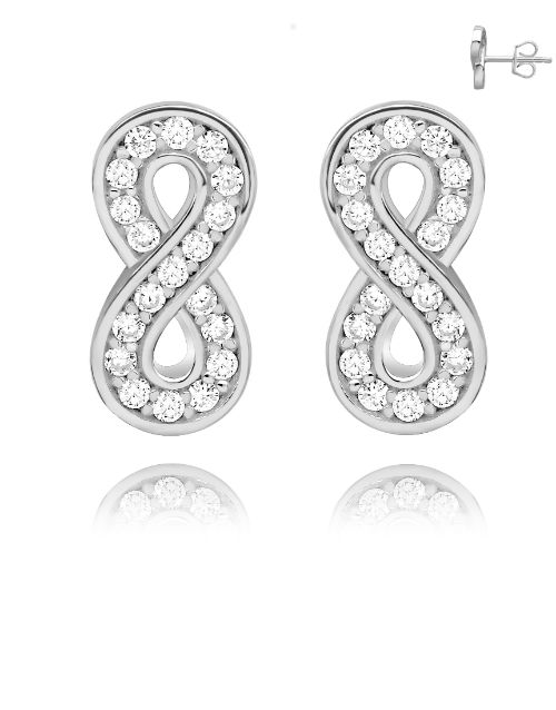 spring-day: Silver Pave Cubic Infinity Studs!