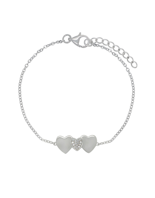 christmas: Sterling Silver Heart Charm Cubic Bracelet!