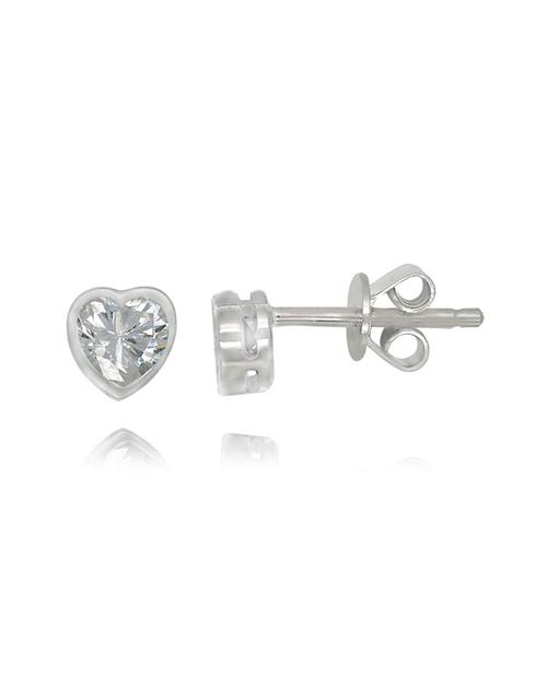 earrings: Sterling Silver Heart Cubic Studs!