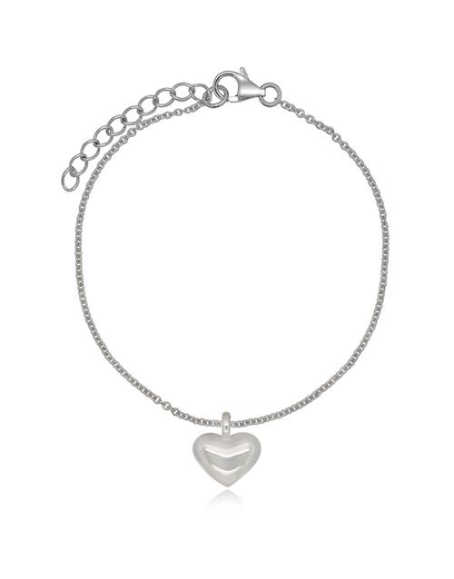 sale: Sterling Silver Puff Heart Ajustable Bracelet!