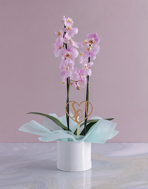 in-a-box: Personalised Initialed Heart Orchid in a Hatbox!
