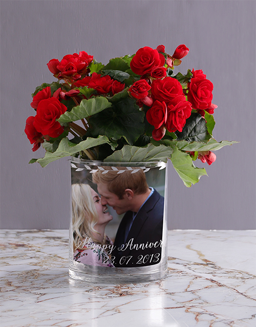 colour: Personalised Begonia Anniversary Photo Vase!