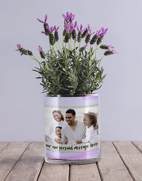 colour: Personalised Lavender Message And Photo Vase!