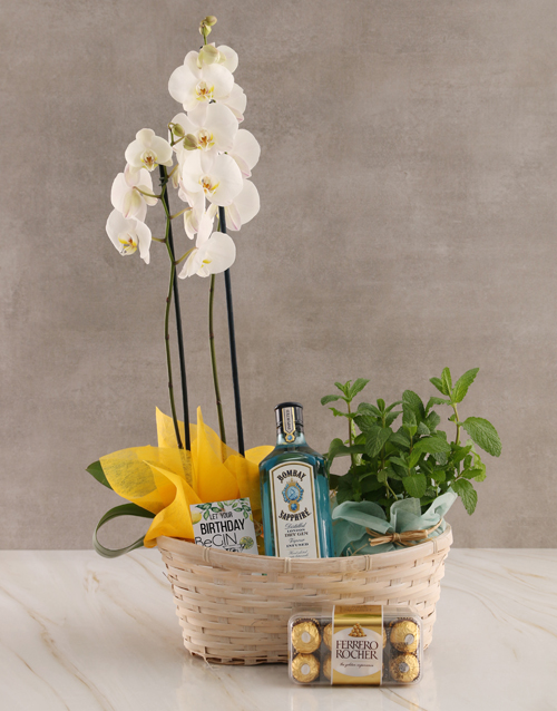 orchids: Mint and Gin Orchid Birthday Hamper!