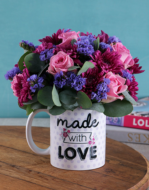 birthday: With Love Purple Floral Arrangement Mug!