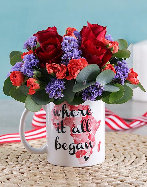 mugs: Where it all Began Red Rose Mug Arrangement!
