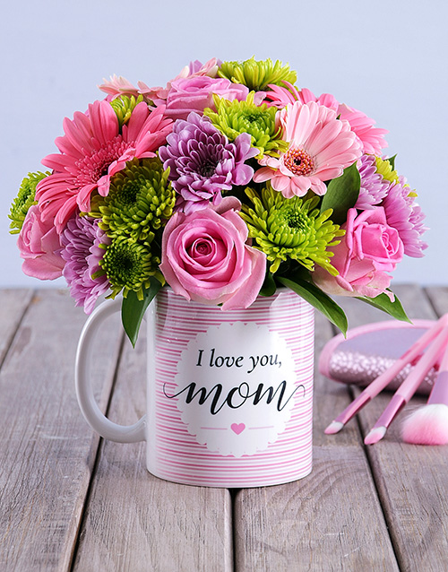 prices: I Love You Mom Floral Arrangement Mug!