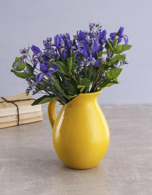 colour: Irises in Yellow Jug!