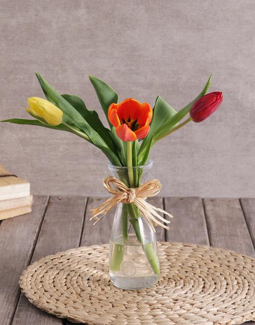 tulips: Mixed Tulip Trio in Clear Vase!