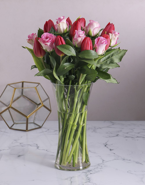 seasonal: Red Tulips and Pink Roses in Vase!