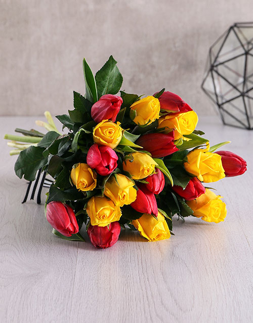 tulips: Red and Yellow Bouquet in Craft Paper!