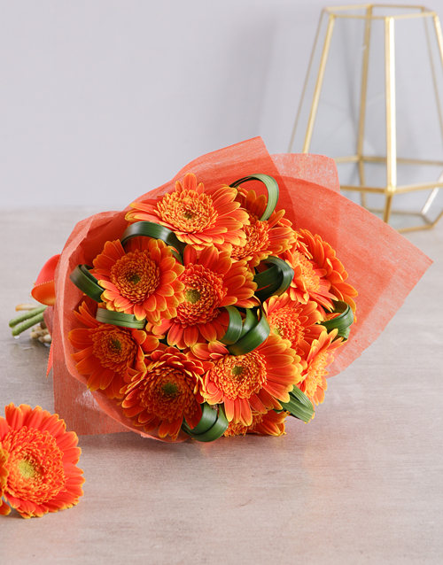 flowers: Apricot Bouquet Of Gerbera Daisies!
