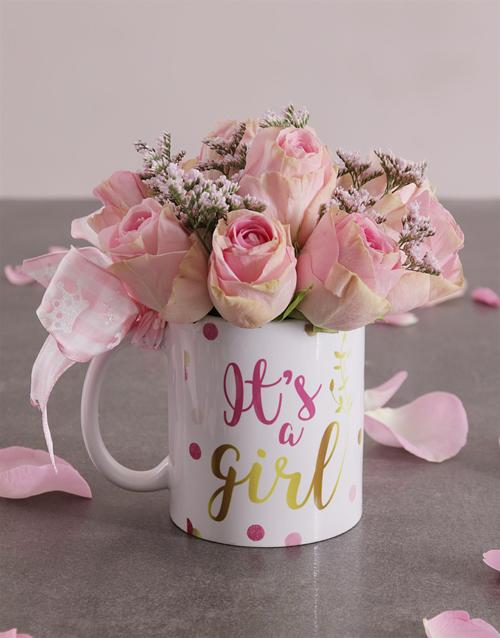 colour: Pink Rose Arrangement in a Mug!