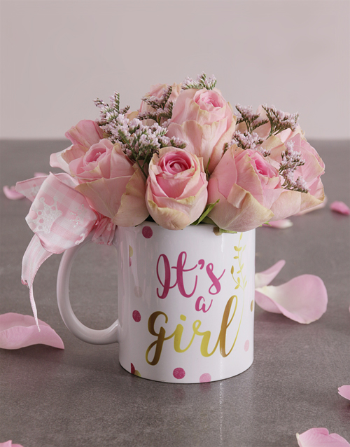 baby: Pink Rose Arrangement in a Mug!