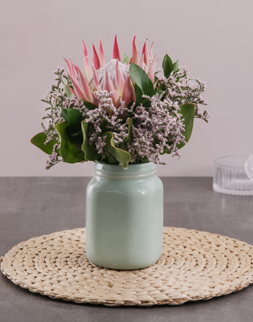 anniversary: King Protea in Mint Jar!