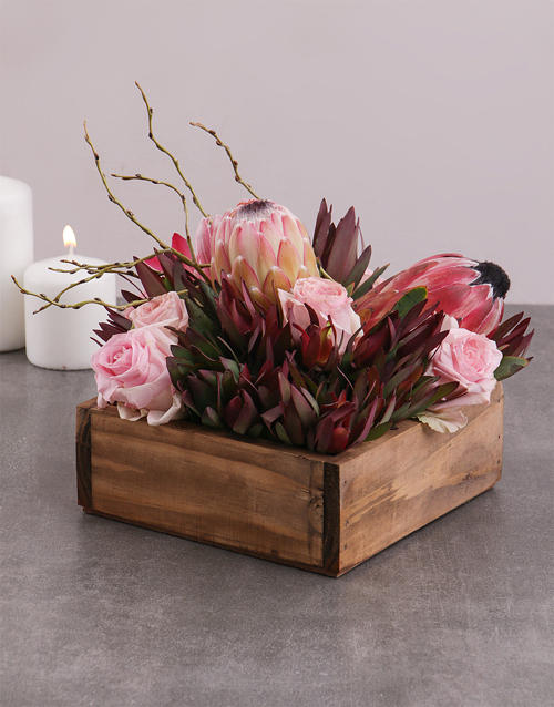 proteas: Mixed Proteas and Roses in Crate!