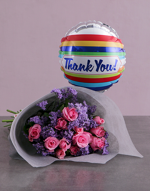 secretarys-day: Thank You Balloon And Pink Rose Bouquet!