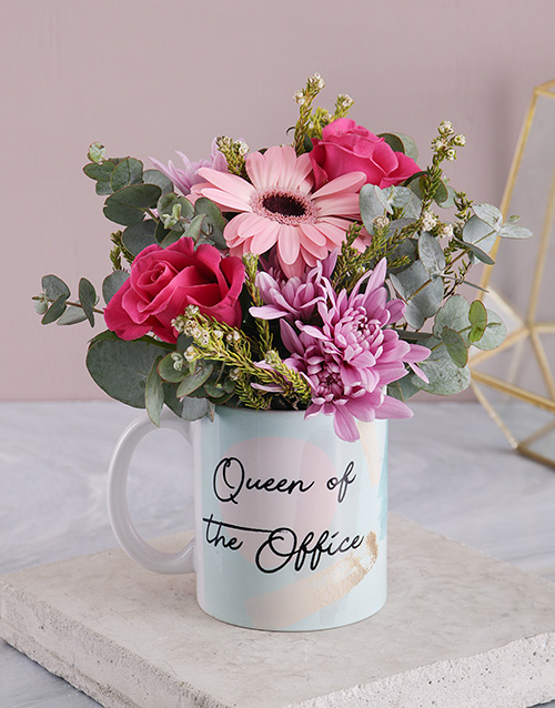 flowers: Queen Of The Office Floral Mug!