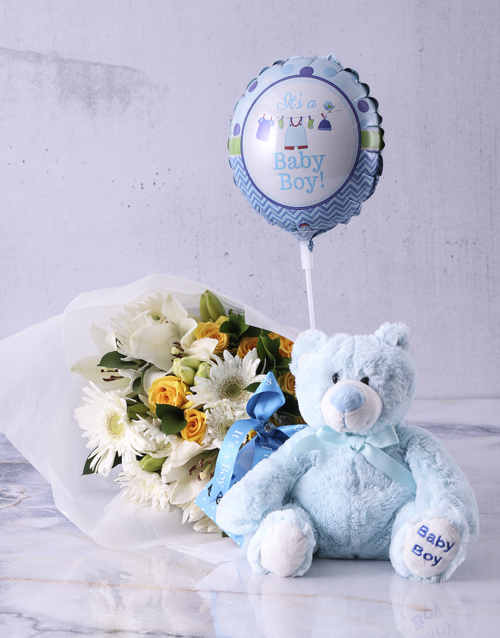 teddy-bears: Baby Boy Teddy Bouquet!
