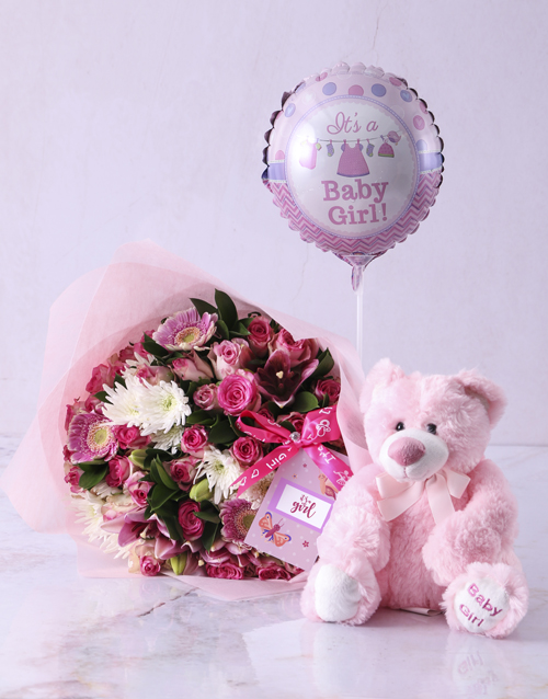 colour: Baby Girl Teddy Bouquet!