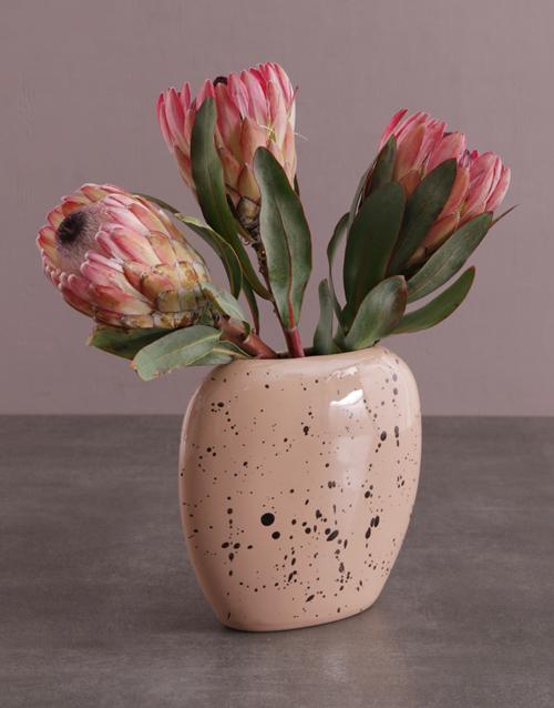 birthday: Proteas in Oval Moon Vase!