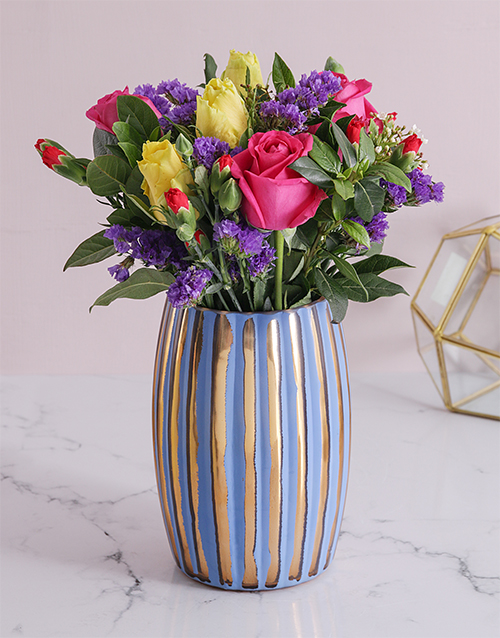 birthday: Elegant rose mix in stripe vase!