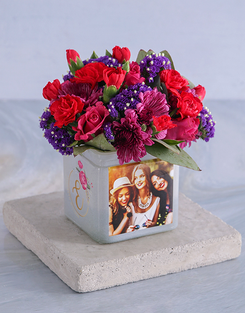 colour: Personalised Bright Blooms in Initial Photo Vase!