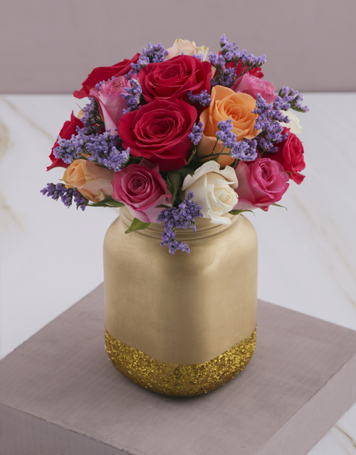 coloured-vases: Mixed Roses in a Gold Consol Jar!