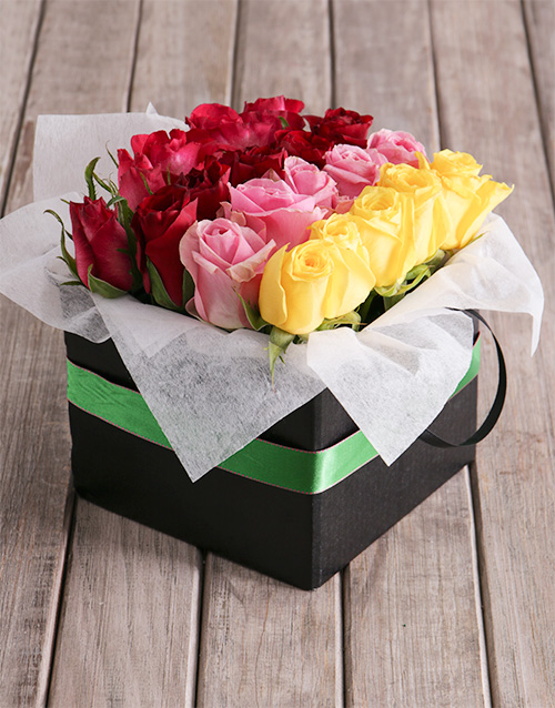 anniversary: Rows Of Mixed Roses In Green Ribbon Box!