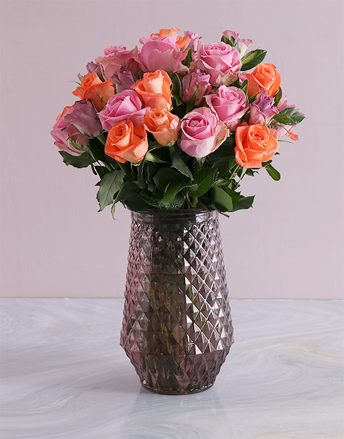 roses: Mixed Roses In Purple Vase!
