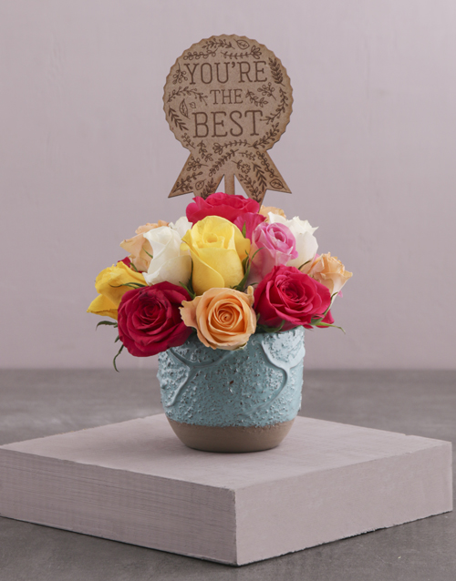 anniversary: The Best Mixed Roses in a Turquoise Pot!