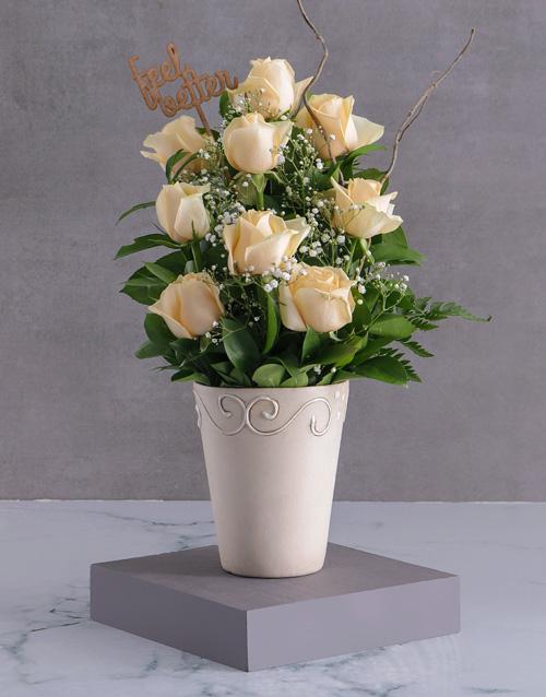 anniversary: Feel Better Cream Rose Arrangement!