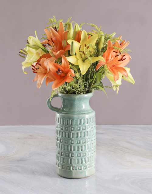 easter: Bright Lilies in Ceramic Jug!