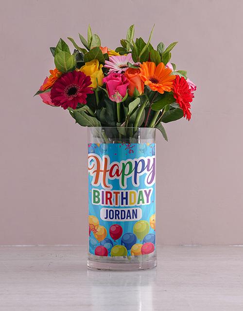 personalised: Personalised Bright Flowers in Birthday Photo Vase!
